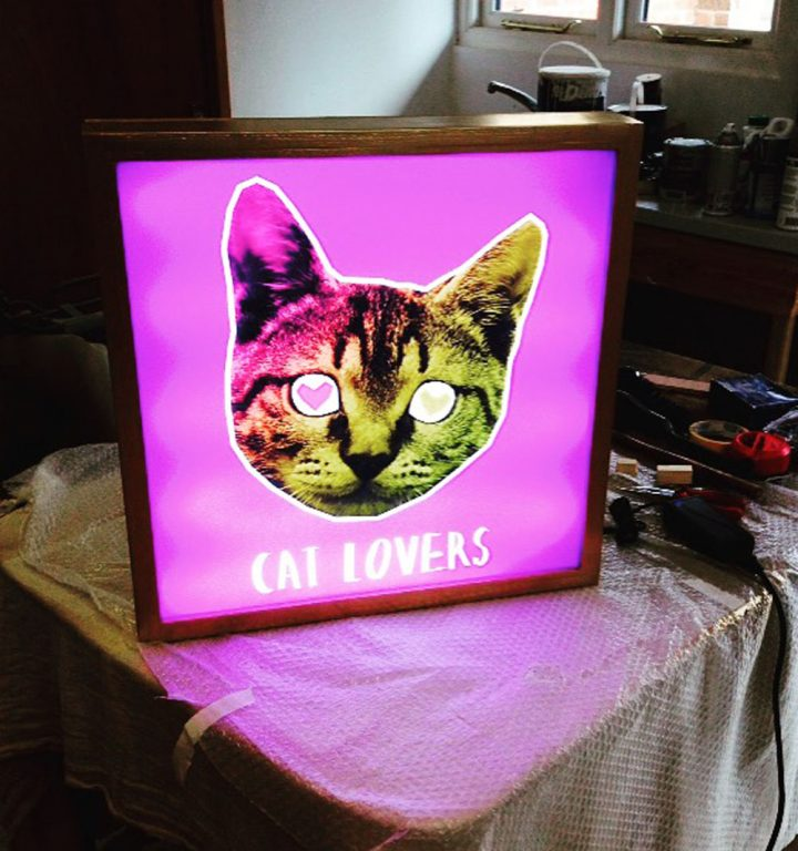 lightbox-cat-lovers - custom wood framed light box design