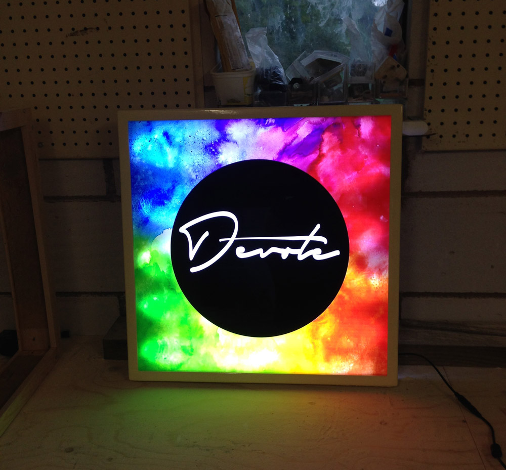lightbox-devote - custom wood framed light box design