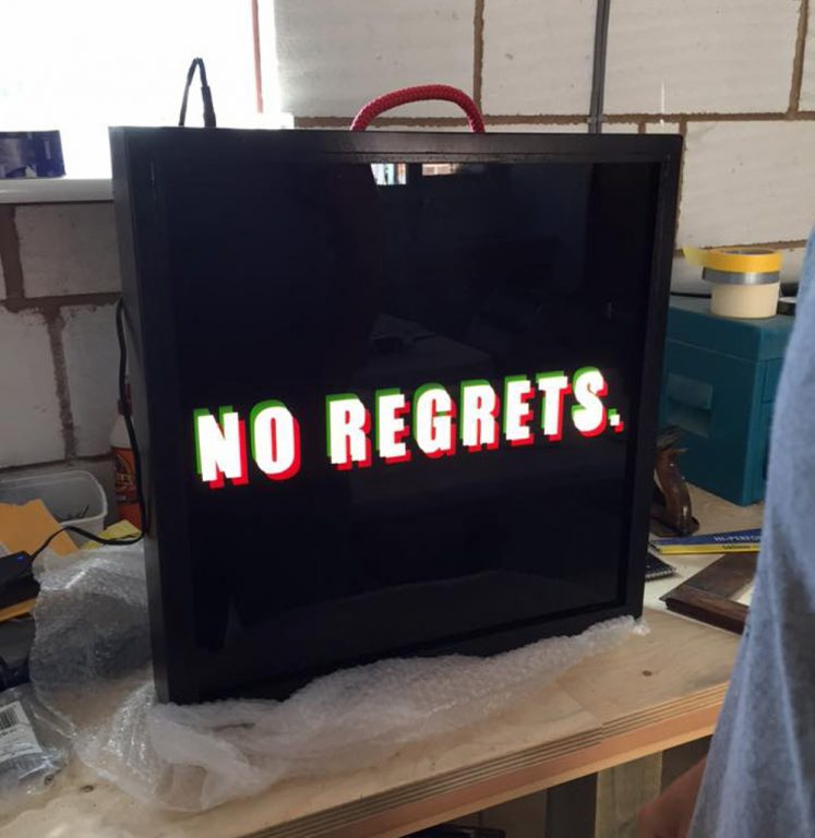 lighbox-no-regrets - custom wood framed light box