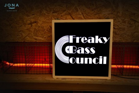 Freaky-bass-council - custom made wood light box